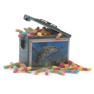 Bass Fishing Tin with Gummi Worms